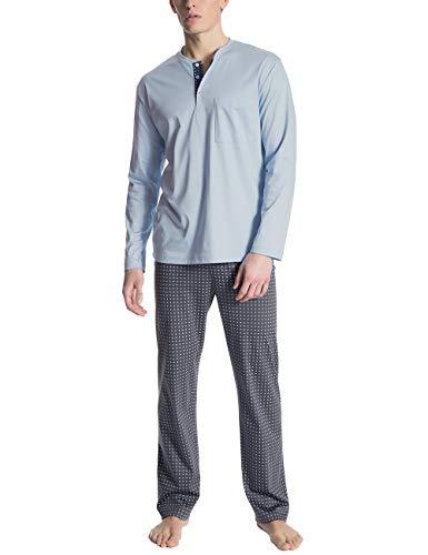 Calida Herren Relax Selected Zweiteiliger Schlafanzug, Blau (Placid Blue 502), Large (Herstellergröße:L)