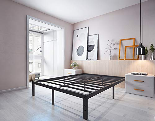 Homdock 14 Inch Metal Platform Bed Frame/Sturdy Strong Steel Structure 3000 lbs Heavy Duty/Noise Free/None Slip Mattress Foundation/No Box Spring Needed/Black Finish, Queen