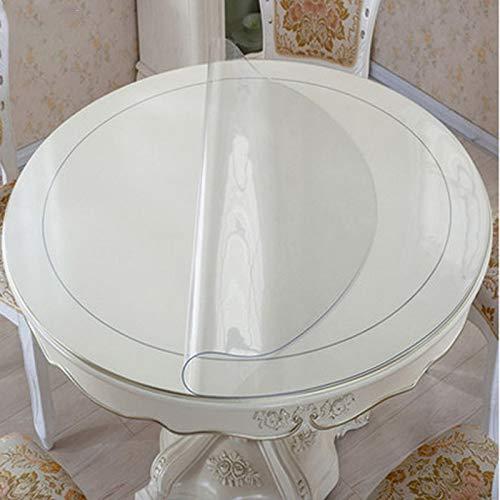 WUJIANCHAO PVC Runde Tischdecke Transparente Tischdecken Wasserdichtes Küchenmuster Öltischabdeckung Glas Weiche Stoffdecke Tischdecken Style-01 120cm