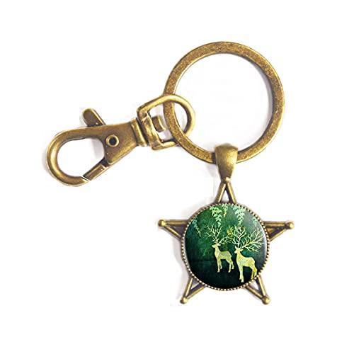 Deer Art Logo Key Ring Keychain Fashion Handmade Resin Cabochon Chain Accessories Keychain Women,PU389
