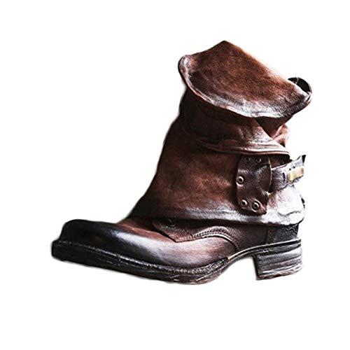 Damen Retro Leder Stiefel Blockabsatz Stiefeletten Frauen Bequeme Schuhe mit Rutschfester Sohle Herbst Winter Casual Boots B Braun 40 EU
