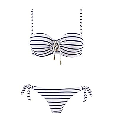 ASBAYSON Women's Navy Stripes Bikini Set Swimwear, Steel Ring Sweet Bandeau Swimsuit (Navy, S)