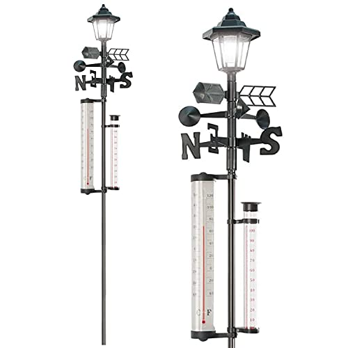 Taylor & Brown 5-in-1 Garden Weather Station with Solar Powered Light -...
