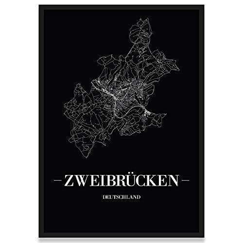 JUNIWORDS Stadtposter, Zweibrücken, Wähle eine Größe, 21 x 30 cm, Poster mit Rahmen, Schrift A, Schwarz