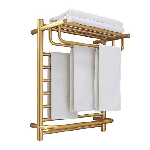 MIJOGO handdoekradiator handdoekdroger radiator badkamerverwarming handdoekverwarmer badkamerradiator met handdoekhouder voor de badkamer goud geborsteld recht handdoekhouder functie 500 * 900 mm, hardwired, S