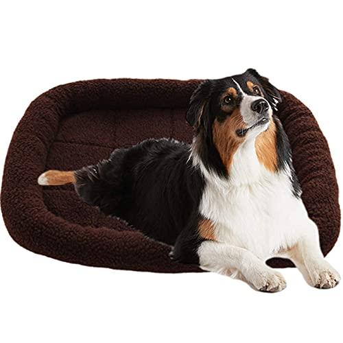 JLKDF Plush Pet Bed for Dog Cat, Soft Warm Puppy Bed Waterproof Rectangle Lounge Cuddler Dog Mat Non-Slip Fluffy Calming Dog Sleeping Bed for All Seasons (Black)