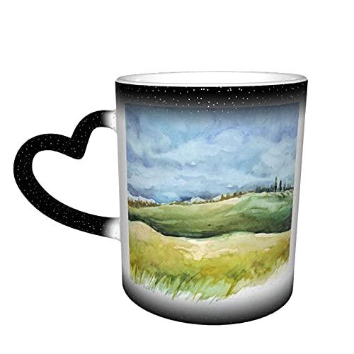 AOOEDM Taza que cambia de color del cielo estrellado del campo y del bosque Taza que cambia de color mágica sensible al calor de cerámica La taza de café es muy adecuada como regalo para su familia