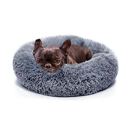 nononfish Calming Dog Beds for Small Dogs Washable Fluffy Luxury Anti-Slip, Waterproof Base Donut Pet Bed with Fur Blanket