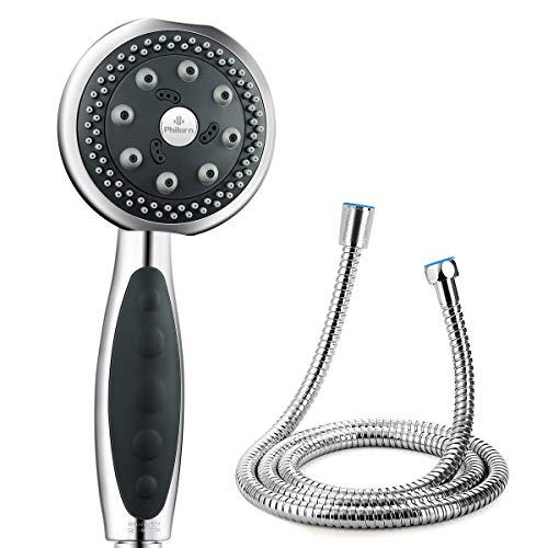 Philorn High Pressure Shower Head with Hose 1.5M Luxury 5 Mode Spray Massage Spa Water Saving Drip Mode Adjustable Showerhead Good Water Flow Speed Handheld Chrome Shower Head Easy to Install