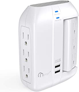 ONSMART Wall Tap Swivel Surge Protector- Power Strip w/ 6 Power Outlets + 2 Ports USB Charger- Portable Wall-Mount Socket - Best Power Surge Protection & Smart Charging for Home, The Office, Travel