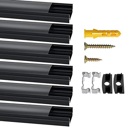 Jirvyuk Perfil de aluminio LED, 6 unidades de 1 m/3,3 pies LED canal y difusor para luces LED con cubierta negra, tapas de extremo y clips de montaje de metal - (forma de U)