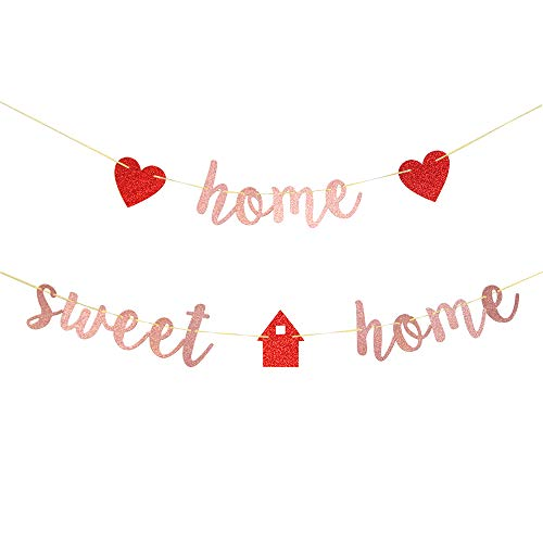 Rose Gold Home Sweet Home Banner - Welcome Home Banner - Welcome Home Sign - New Home/New Baby/Retiring from the Army/Return from Maternity Party Decoration