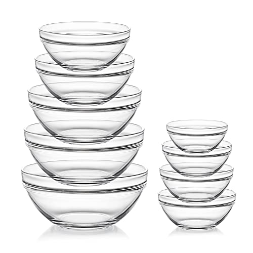 Sweejar Glass Mixing Bowls Set(set of 9),Nesting Bowls for Space Saving Storage,Great for Cooking,Baking,Prepping,Stackable Bowl Set