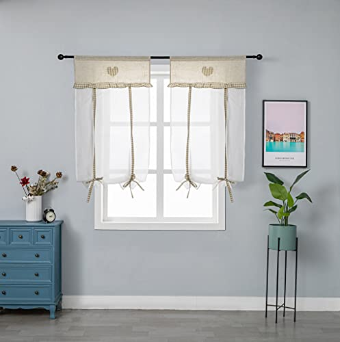 GIRASOLE Par de cortinas blancas de lino y algodón y poliéster con bordado de corazón beige estilo Shabby Chic 2 paneles con bolsillo (Beige, 60 x 150 cm)