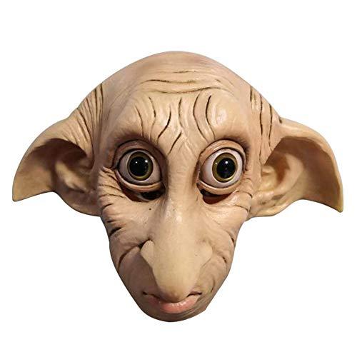 Dobby Elfin Cosplay Halloween Maske, Festival Cosplay Kostüm Gesichtsschutz für Erwachsene Party Dekoration Requisiten, Full Face Latex Gesicht Kopfbedeckung für Cosplay Halloween Weihnachtsfeier