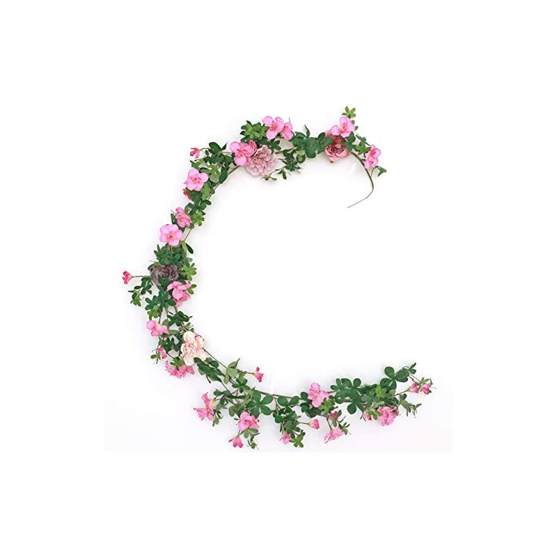 silk flower arrangements wakisaki fake vines artificial flowers cherry blossom & ivy hanging plants greenery garland, for cute kawaii room decor japanese flower wall, wedding decorations ceremony arch (noble lilac)