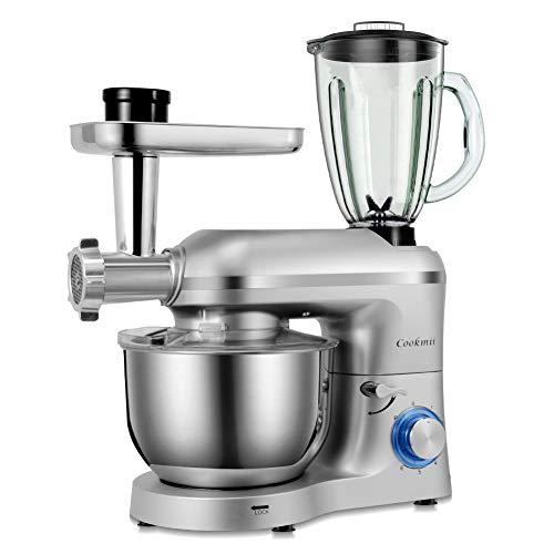 Cookmii 1800W Robot de Cocina Universal, Batidora Amasadora, Picadora, Cabezal para Pasta 3-En-1, con Un Tazón De Acero Inoxidable, 5.5L,Plata
