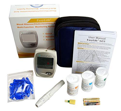 EasyLife Blutcholesterin-Test-Set mit 3-in-1 Messgerät, Blutcholesterin, Blutzucker und Harnsäure-Test