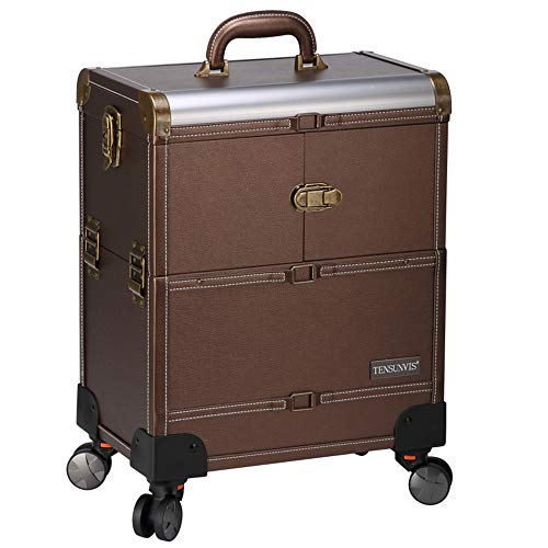 Estuche tren maquillaje ruedas almacenamiento grande organizador cosméticos maleta carrito salón barbero...