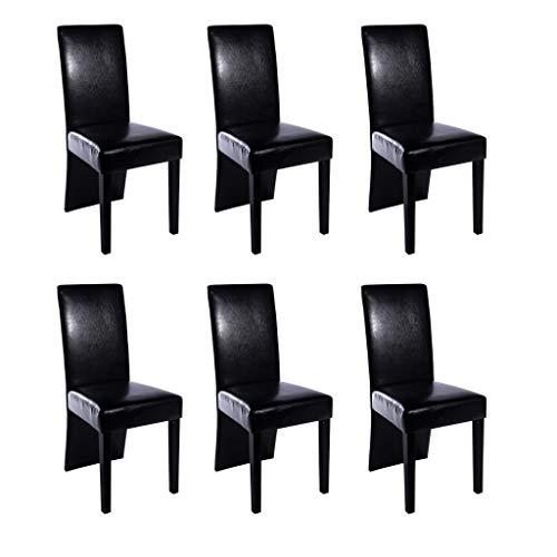 vidaXL Chaise Design Bois Noir (Lot de 6) Simili Cuir Bois