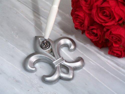 Silver Fleur De Lis Wedding Pen Set - 1