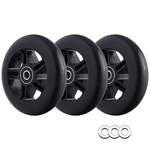 Polyurethane Replacement Wheels [3-Pack] w/Spacers Compatible with EzyRoller Classic/Drifter/Junior Kid Ride-On Toy Scooter (Black)