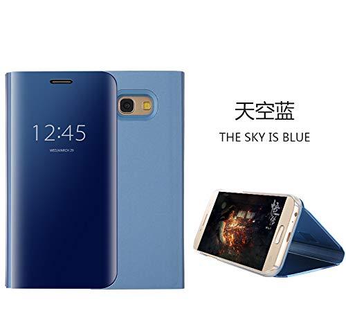 para el Samsung Galaxy A5 2017 Estuche para Espejo, HengJun Flip Stand Funda con Espejo Estuche para teléfono móvil Smart Sleep/Wake - Tapa para Funciones - Azul