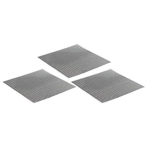 BESPORTBLE, 3 peças, tapete de malha para churrasqueira, antiaderente, forro de chapa para churrasqueira, funciona em grânulos a gás e carvão