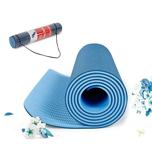 Arrowmax TPE Yoga Mat Non Slip, Eco Friendly Fitness Exercise Mat with Carrying Strap,Pro Yoga Mats for Men & Women,Workout Mats for Home, Pilates and Floor Exercises (Blue)