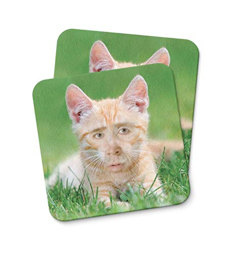 Nicolas Cage Ginger Cat Coaster For Drinking Coffee Tea Beverages Mug Cup Kitchen Home Décor Gift Coasters Funny Home Decor gifts PACK/SET OF 2