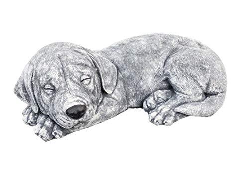 Steinfigur Hunde Welpe Labrador, Frost- und wetterfest bis -30°C, massiver Steinguss