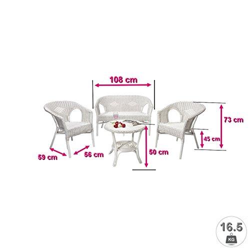 Rattanmöbel-Set Chris - 4-teilig (Rattansessel, Rattansofa, Tisch) - Weiß - 3