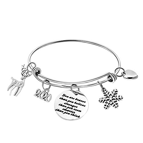 Christmas Bangle Bracelets Inspirational Gifts for Daughter in Law GodDaughter Niece Adult Xmas Presents Engraved Motivational Encouragement Dainty Stainless Steel Jewelry for Girl Under 10 Dollars