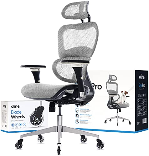 Oline ErgoPro Ergonomic Office Chair - Rolling Desk Chair with 4D Adjustable Armrest, 3D Lumbar Support and Blade Wheels - Mesh Computer Chair, Gaming Chairs, Executive Swivel Chair (Light Gray)