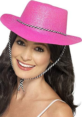 Damen Sexy Cowgirl Pink Funkelnd Glitzer Cowboy Wilder Westen Sheriff Junggesellinnenabschied Schicke Verkleidung Kostüm Hut
