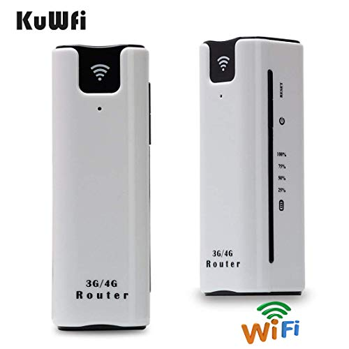 KuWFi Smart Moblie WiFi Hotspot 3G Router with sim Card Slot with Power Bank 2200Mah Portable WiFi...