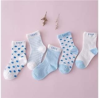 Lovely Socks 5 Pairs Children Cotton Socks Kids Spring and Summer Cotton Anti-Slip Stripe Dot Patterns Mid Tube Socks (Light Green) Newborn Sock (Color : Light Blue)
