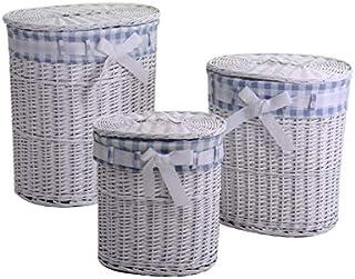 Vacchetti 1920320000 Lot de 3 paniers en Osier, Blanc, Bleu, Moyen