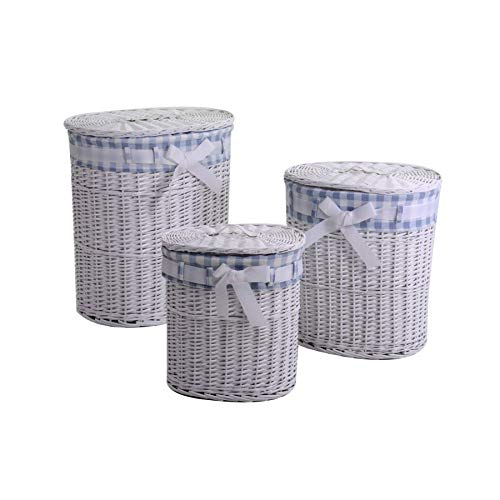 Vacchetti 1920320000 - Cesta de Mimbre, Color Blanco y Azul, tamaño Mediano, 3 Unidades