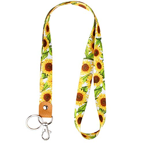 Celokiy Sunflower Lanyard Neck Strap with Metal Clasp and Genuine Leather, Cool Cute Lanyards for Keys,Id Badges,Card Holder,Cell Phone,Keychain,Wallet,Cruise,Teacher,Women,Girls (C1)