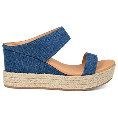 Brinley Co. Womens Espadrille Wedge Slide Denim, 9 Womens US