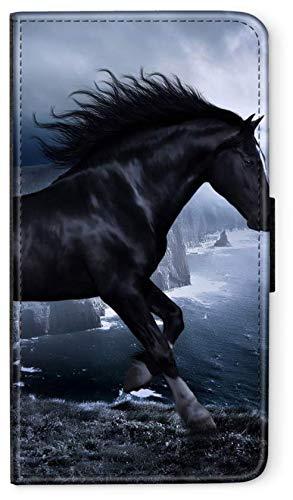 Flip Case Sunset Horse Pferd kompatibel für Samsung Galaxy S8 Pferd Küste schwarz Meer Handy Hülle Leder Tasche Klapphülle Brieftasche Etui r& um Schutz Wallet M2