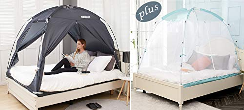 BESTEN Indoor Bed Tent and Mosquito Net Bundle Package for All Seasons (Full/Queen, Charcoal Tent w/Mint Net)