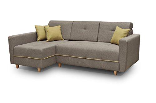 mb-moebel Ecksofa Sofa Eckcouch Couch mit Schlaffunktion und Bettkasten Ottomane L-Form Schlafsofa Bettsofa Polstergarnitur - Tucson (Ecksofa Links, Braun)