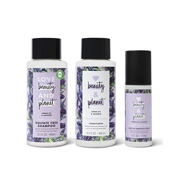 Love Beauty & Planet Shampoo, Conditioner and Leave In Cream Argan Oil and Lavender 3 Count 1