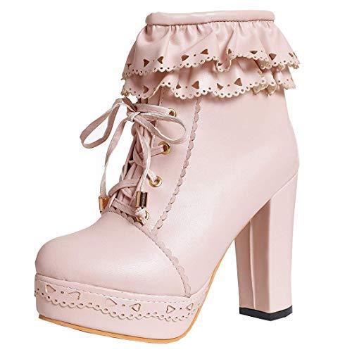 MISSUIT Damen Blockabsatz Plateau High Heels Stiefeletten mit Schnürung und Reißverschluss Lolita Ankle Boots Rockabilly Schuhe(Pink,43)