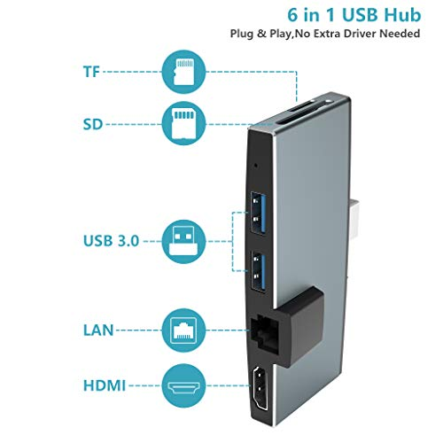 Bawanfa Microsoft Surface Pro 5/Pro 6 USB 3.0 Hub Docking Station, mit 2 USB 3.0, Ethernet Port, 4K HDMI, SD/Micro-SD-Kartenleser, Aluminum