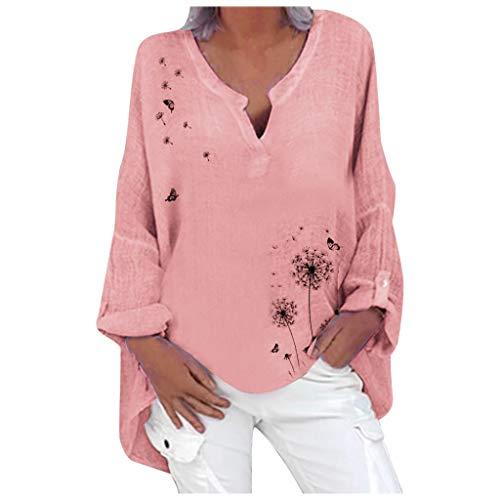 Dicomi Plus Size Women Casual Long Sleeve Dandelion Print Loose V-Neck Shirt Blouse Top