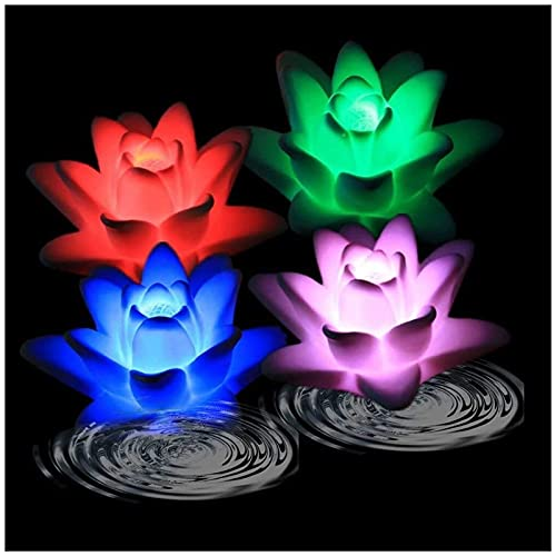 4 Pack LED Water Activated Floating Flameless Candle Light, Waterproof Lily Flower Shaped Light, Color Changing Tea Light Night Light Candle Light for Shower, Water Game Activities, Wedding Decoration
