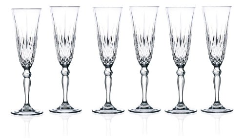 Lorenzo Lorren Home Trends Crystal Melodia Collection Wine Glass Set by...